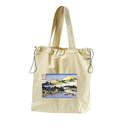 good Landscape Of Ryukyu (Hokusai) Canvas Drawstring Beach Tote Bag ... 5bec5ac52304c