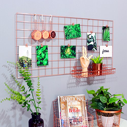 Nugoo Grid Panel Photo Wall Multifunction Wire Wall Mesh Display Panel Decorative Iron Rack Clip Photograph Wall Hanging Picture wall Fashion Art Display & Organizer Rose Gold (37.4 x 17.7)