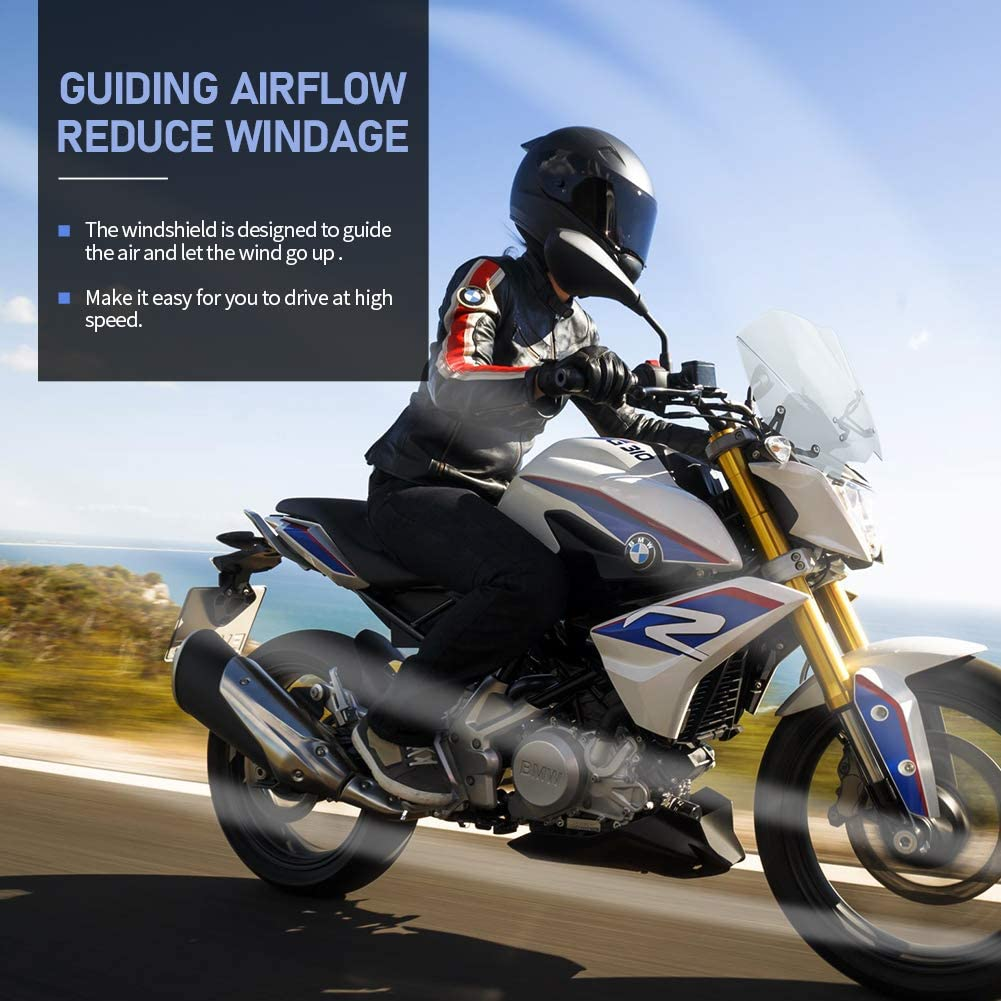 FATExpress Windscreen for BMW G310R Motorcycle New Generation Sport Racing Touring Windshield Airflow Wind Deflectors Fly Screen 2016 2017 2018 2019 G310 G 310 R Accessories Black