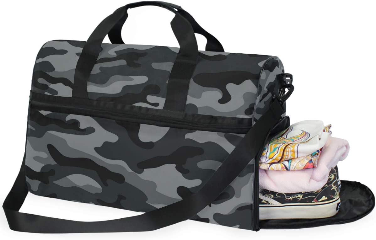 Camouflage Travel Duffel Bag Sports Gym Bag With Shoes Compartment Large Capacity Lightweight Duffle Bag For Men Women