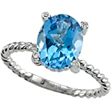 Genuine Blue Topaz Ring by Effy Collection 14kt Gold