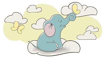 Wandtattoo Babyzimmer Tiere Wandsticker Niedlicher Elefant Mit