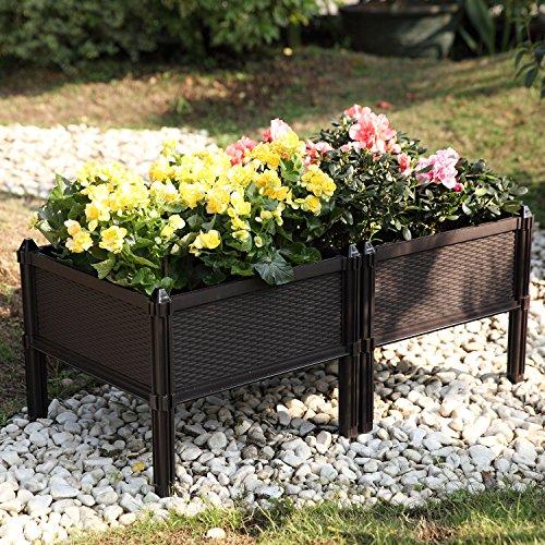 T4U Plastic Assemble Garden Planter Raised Elevated Garden Bed, for Herbs, Flowers, Vegetable Gardening - Brown, Pack of 2