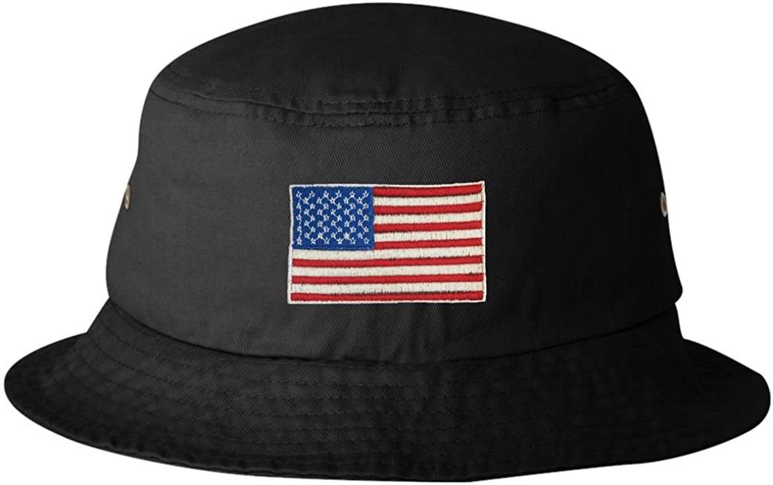 dd072bcbc1e Amazon.com  Go All Out One Size Black Adult USA American Flag Embroidered Bucket  Cap Dad Hat  Clothing