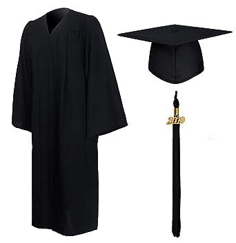 7c055d6c8a3 GraduationMall Matte Graduation Gown Cap Tassel Set 2019 for High School  and Bachelor Black 39(