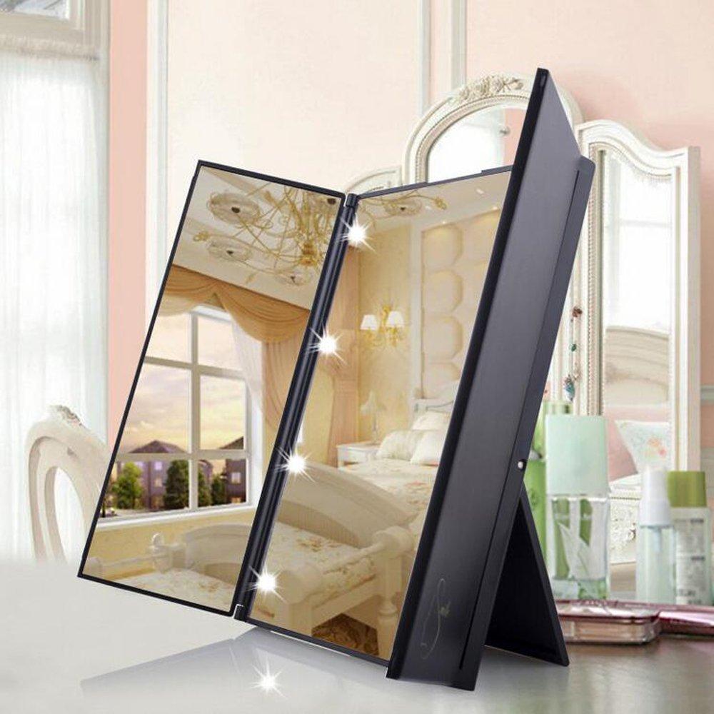 Amazon Kokome Tri Fold Lighted Led Mirror Travel Vanity Makeup Pocket Folding Illuminated With 8