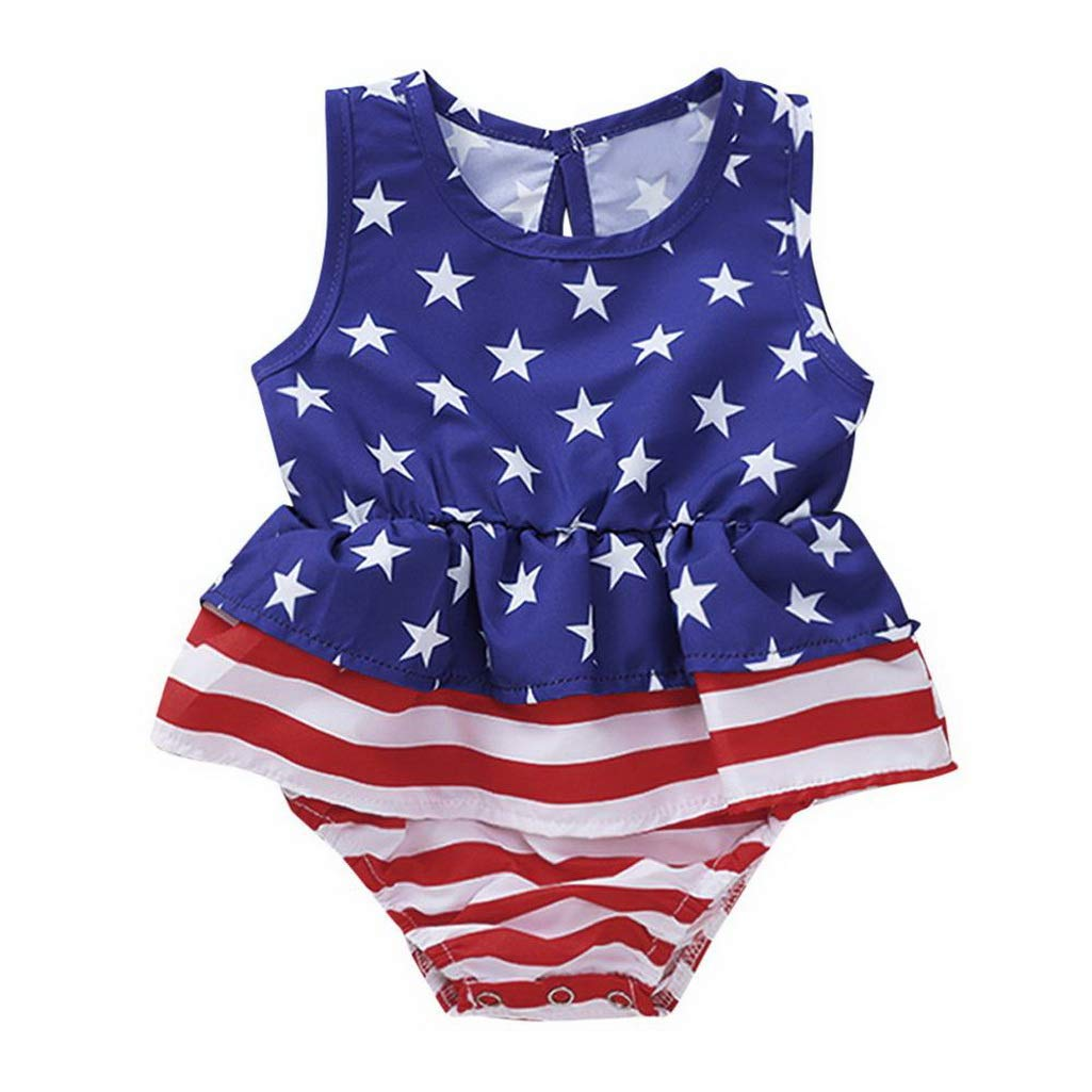 Fashion New US Flag Independence Day Born Toddler July of 4th Star Print Striped Ruffled Romper Baby Girl Romper