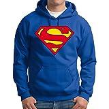 Felpa - per Uomo - Superman- Logo - con Cappuccio - Tasche