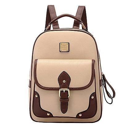 PIXNOR Estilo retro PU cuero mochila mochila escolar bolso para niñas de la mujer (caqui