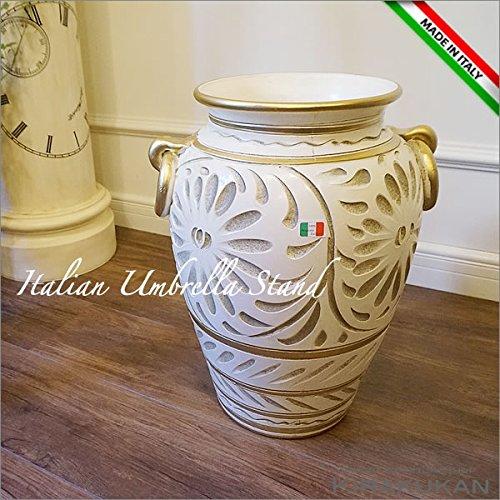 イタリア製 アンブレラスタンド(傘立て)ホワイト手彩色 B01NCOYCD0