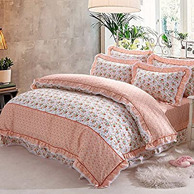 DACHUI Cotton bed sheets - 1800 beds fade, stain resistant - Hypoallergenic - 4 units (lotus leaf lace skirt pink wave Princess Wind) - A Queen 2