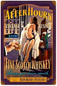 HomDeo Metal Signs Tin Sign Wall Decor After Hours Scotch Pinup Girl Retro Vintage Bar Vintage 16 x 12 Inches Personalized