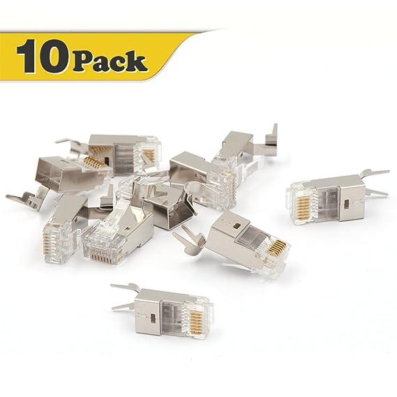 amazon com vce 10 pack nickel plated shielded rj45 modular plug for rh amazon com