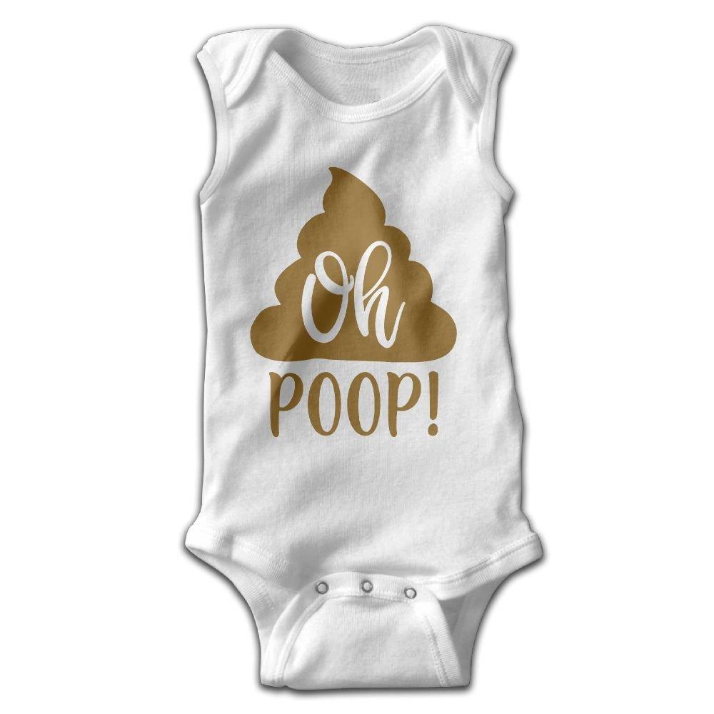 Midbeauty Oh Poop Newborn Infant Baby Summer Sleeveless Bodysuit Romper Jumpsuits Playsuit