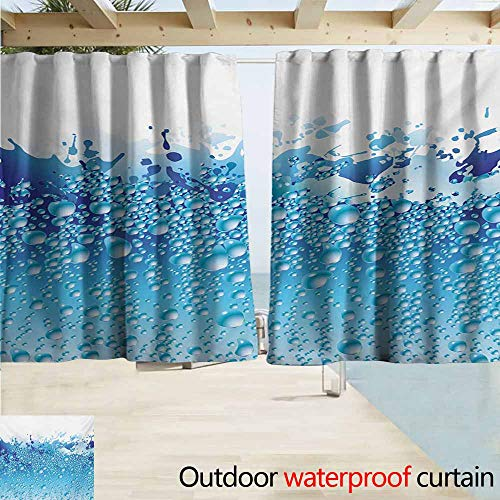 AndyTours Window Curtains,Modern Aquarium Like Water Image with Bubbles Splashes Drops Art Print,Rod Pocket Energy Efficient Thermal Insulated,W63x63L Inches,White Dark Blue and Sky Blue