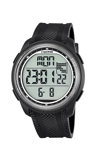 Reloj Digital Unisex con Pantalla Digital LCD con Esfera y Extensible de plástico de Color Negro K5704/8 de Calypso: Calypso: Amazon.es: Relojes