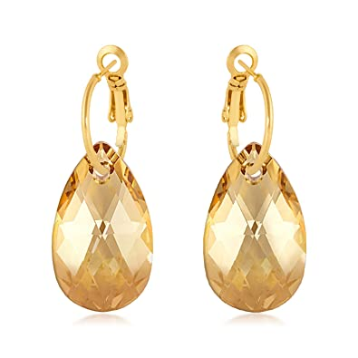 c4205fa2d2ce4 Drop Earrings with Yellow Beige Golden Shadow Pear Crystals from Swarovski  Gold Plated
