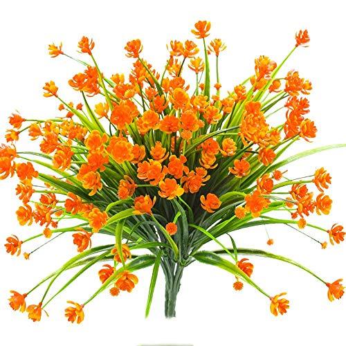 (Louiesya Daffodils Artificial Flowers Fake Plants Outdoor UV Resistant Greenery Shrubs Bush Indoor Outside Home Garden Décor Plastic Flower Hanging Planter 4 Bundles,Orange)