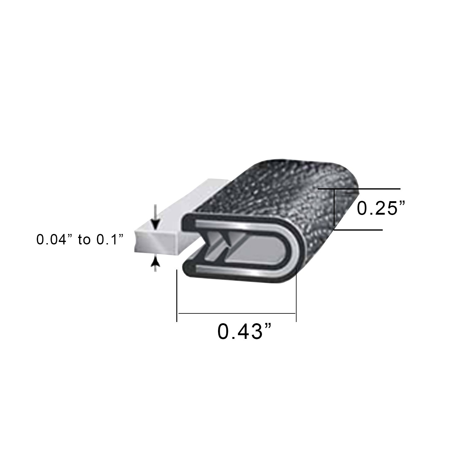 Black Rubber Seal Weather Stripping for Door Window 5//32 to 3//64 Opening 5 Ft