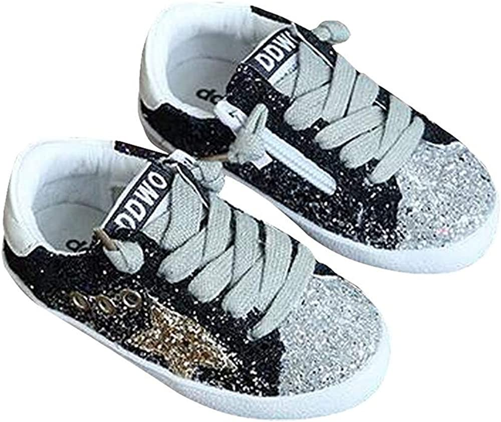 LanXi Girls Bling Sequins Sneakers Breathable Casual Shoes Kids