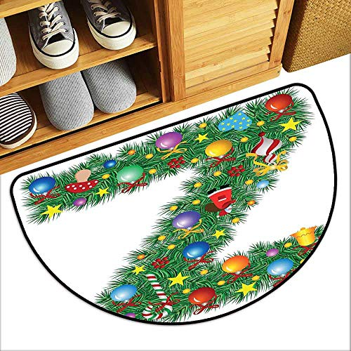 DILITECK Printed Door mat Letter Z Traditional Themed Font Design Z with Colorful Ornaments Christmas Santa Claus All Season General W36 xL24 Multicolor