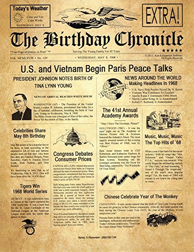 The Birthday Chronicle What Happened on The Month/Day You were Born? Birthdates from 01/01/1900 to 12/31/2016 (Letter Size 8.5 inch X 11 inch Old Parchment Art Background)