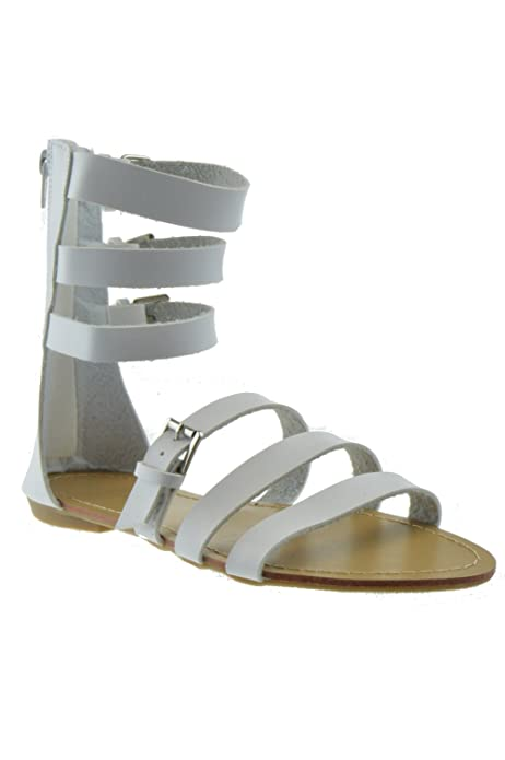 72caf967a Amazon.com | Forvever Shine 310 Womens Caged Gladiator Strappy Flat Sandals  White | Flats