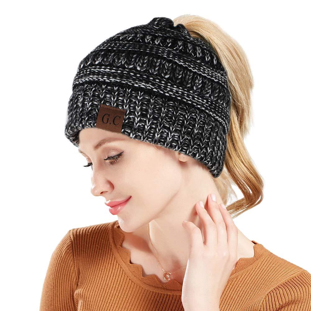 Tacobear Women Ponytail Messy Bun Beanie Hat Knit Handmade Winter Warm Bun Hat Cap Stretch Crochet Ponytail Beanie Women