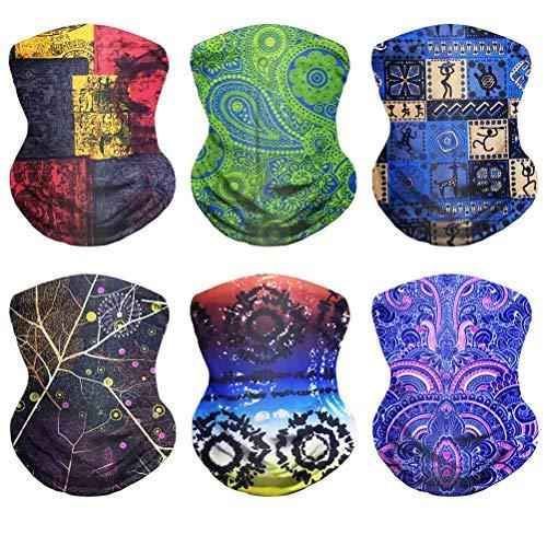 Multi Magic Scarf - VCZUIUC Boho Headwear, Magic Face Mask, Multi FunctionNeck Gaiter,Seamless Bandana for Motorcycle, Fishing, Head Wrap, Scarf, Balaclava, Multi Functional Use for Men and Women (6PCS-Boho-C)