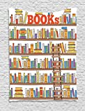 Ambesonne Modern Tapestry, Library Bookshelf with A Ladder School Education Campus Life Caricature Illustration, Wall Hanging for Bedroom Living Room Dorm, 60 W x 80 L inches, Multicolor