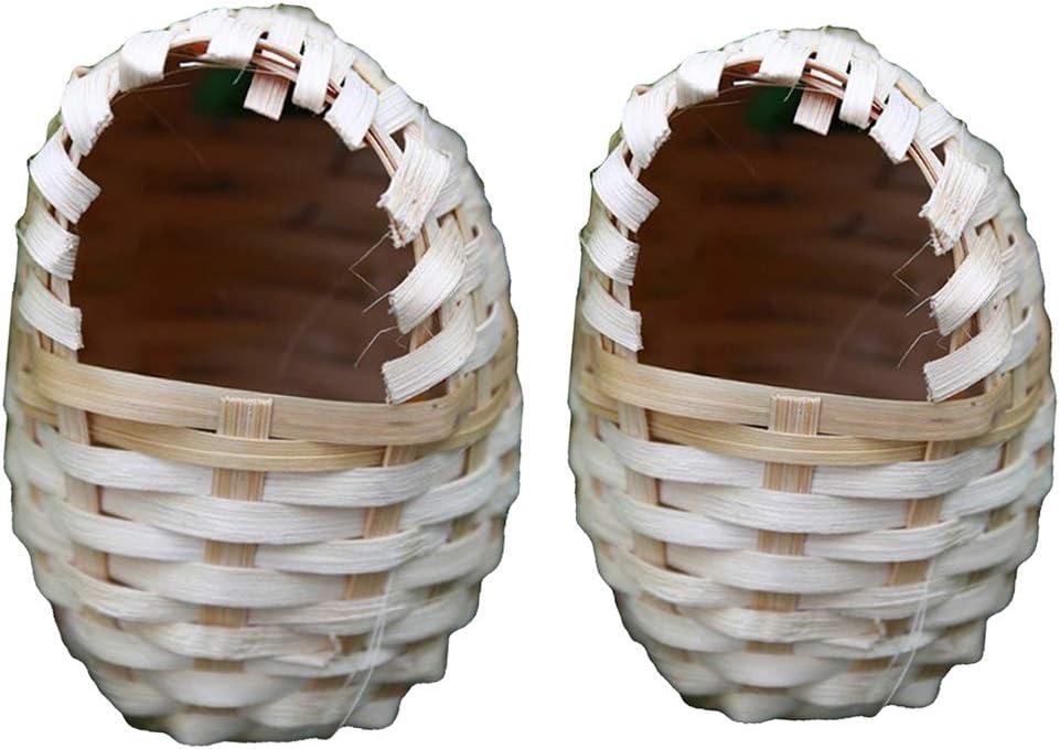joyMerit 2 Piezas/Tamaños Nido De Pájaro De Bambú para Mascotas Pinzones Artesanales para Exteriores Jaula De Gorriones