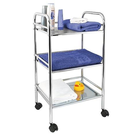 bremermann® estantería para baño con 3 estantes y ruedas