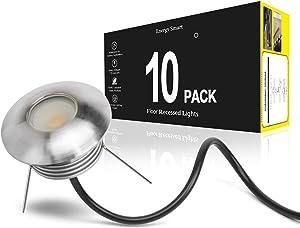 Landscape Lights 10 Pack LED Well Lights 1W 12V Ground Lights Waterproof Low Voltage Landscape Lighting for Driveway, Deck, Step, Garden Lights Outdoor (Warm White)
