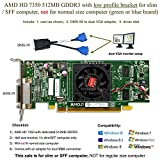 Epic IT Service - AMD Radeon HD 7350 512MB low profile graphics card (half size bracket, dual VGA), fits slim / SFF size computer only