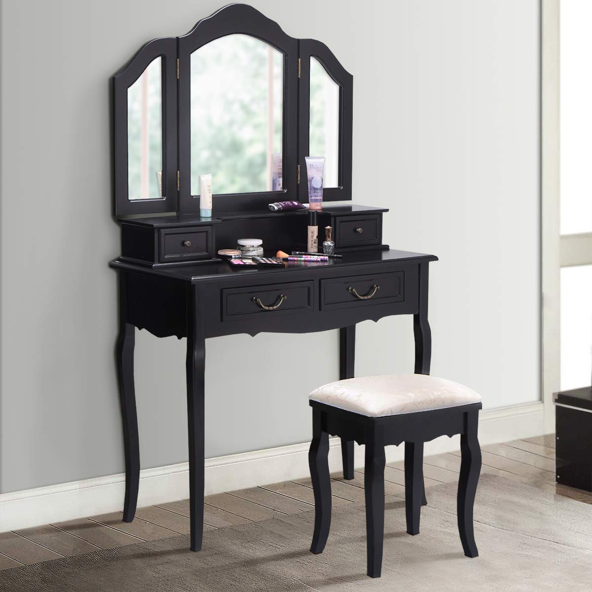 Amazon.com: Giantex Bathroom Vanity Set Dressing Table with Stool ...