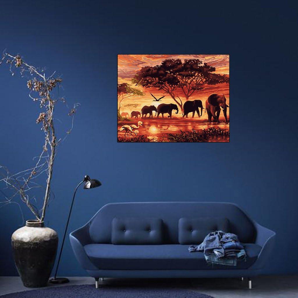 llwei258 Peinture /à lhuile par num/éros /él/éphants Paysage Dessin sur toile D/écoration de bureau