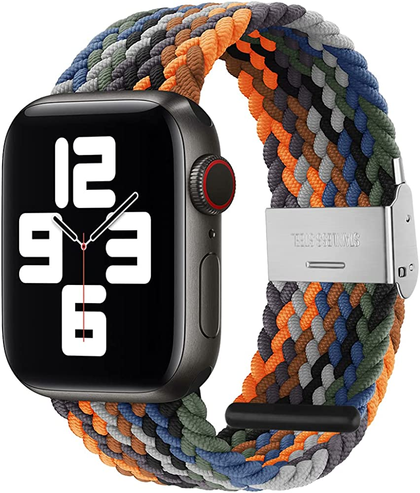 PROATL Adjustable Braided Solo Loop with Buckle Compatible With Apple Watch Band 38mm 40mm 42mm 44mm for Men and Women, Soft Wristband Stretch Nylon Elastic Strap for iWatch Series SE 6 5 4 3 2 1