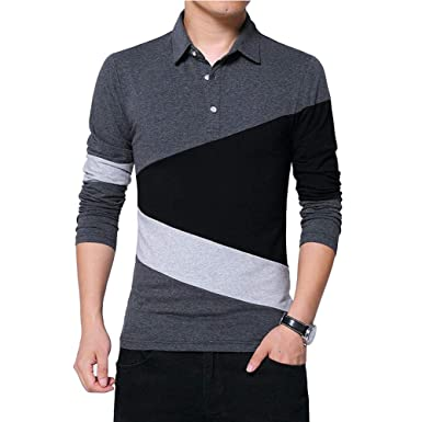 43b8f8ea1b55 Wishere New Men's Fashion T-Shirt Cotton Long-Sleeved Polo Shirt Dark Grey