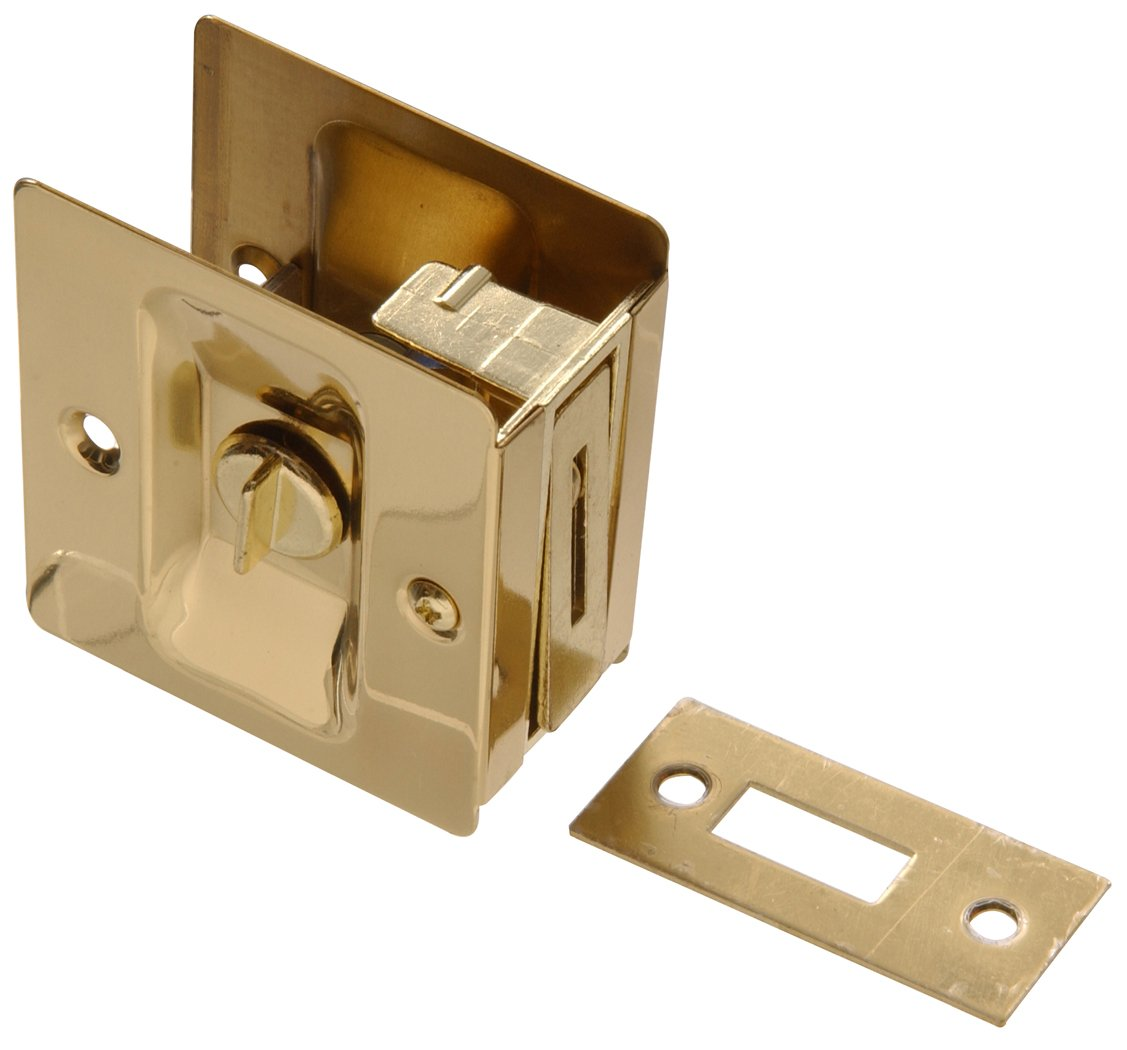 The Hillman Group 852730 Pocket Door Latch Bright Brass Finish 1-Pack Solid Brass