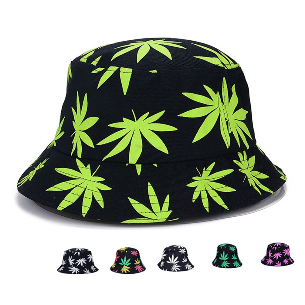 07d163aa Amazon.com: Bucket Hat - Marijuana Weed Fishing Hat - Unisex Sun Uv  Protection Wide Brim Flat Sport Cap Hat for Outdoor Running Travel (Type  2): Clothing