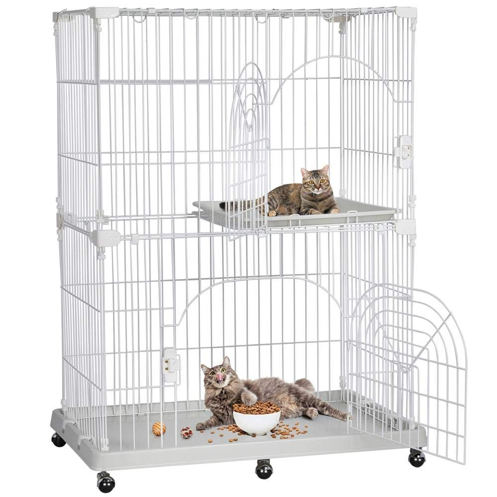 Yaheetech 2-Tier Large Cat Cage Kitten Crate Pet Enclosure by Yaheetech