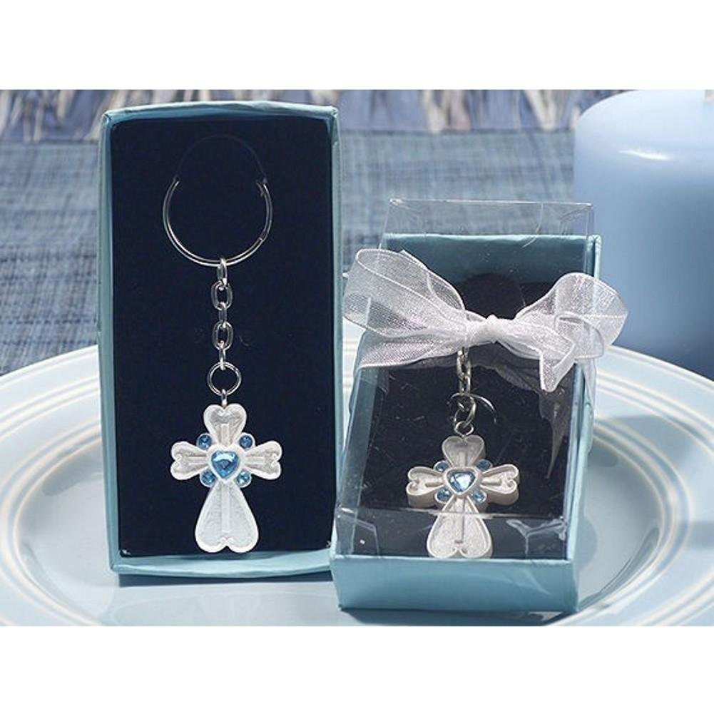 White Cross Keychain with Blue Crystals 36 Pieces
