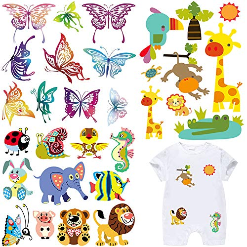 Iron on Patches for Kids Clothes 3 Set Cute Cartoon Animal Butterfly Applique Patches DIY Badges Washable Heat Transfer Stickers for Baby T-Shirt Dress Jean Jacket Clothing ()