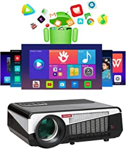 Gzunelic 7500 lumens Android WiFi Projector 1080p Video LCD LED Projector Full HD Theater Proyector with Bluetooth Wireless Mirror to Smart Phone by Airplay or Miracast Ideal for Home Entertainment