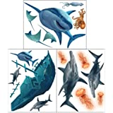 Shark Wall Decals ~Awesome Shark Creatures & Sunken Pirate Ship Wall Stickers: Boys Room Decor