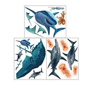 Create-A-Mural Shark Wall Decals ~Awesome Shark Creatures & Sunken Pirate Ship Wall Stickers: Boys Room Decor