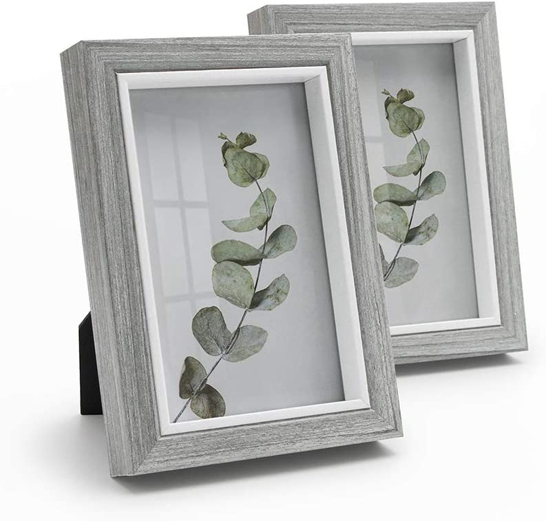 Afuly 4x6 Picture Frame Grey Wooden Photo Frames Modern Ready to Hang and Stand Tabletop Desk Display Gray Decor for Office Home, Set of 2 Unique Gifts