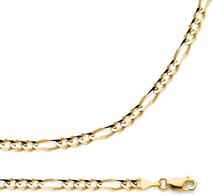14k Yellow Gold Hollow Mens 4mm Figaro 3+1 Chain Necklace