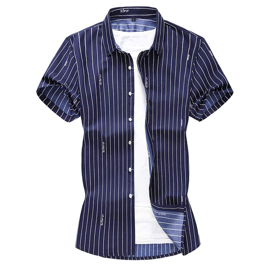 Shirt for Men, F_Gotal Men's T-Shirts Summer Short Sleeve Stripe Printed Buttons Down Loose Fit Casual Tees Blouse Tops Navy by F_Gotal Mens Shirt