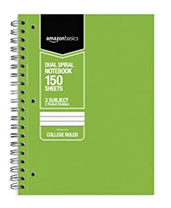 AmazonBasics College Ruled Wirebound 3-Subject 150-Sheet Notebook with Pocket Divider - Pack of 3, 10.5 x 8 Inch, Grey / Green / Blue